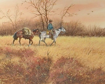 "Watercolor Painting : Ron Stewart, Water Color, Signed, ""Autumn Winds"", Vintage, 1973, Watercolor on Paper, Artist's Symbol #538"