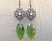 Antique Vintage Style Large Emerald Green Glass Marquise Drop Earrings with Gunmetal and Rhinestones and Gunmetal Hooks