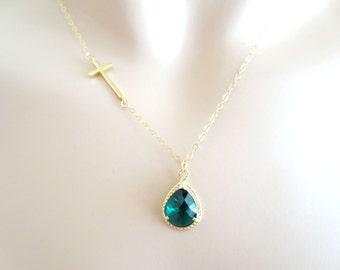 Emerald, Green, Color, Stone, Sideways, Cross, Gold, Necklace, Birthday, Wedding, Graduation, Friends, Mom, Sister, Gift