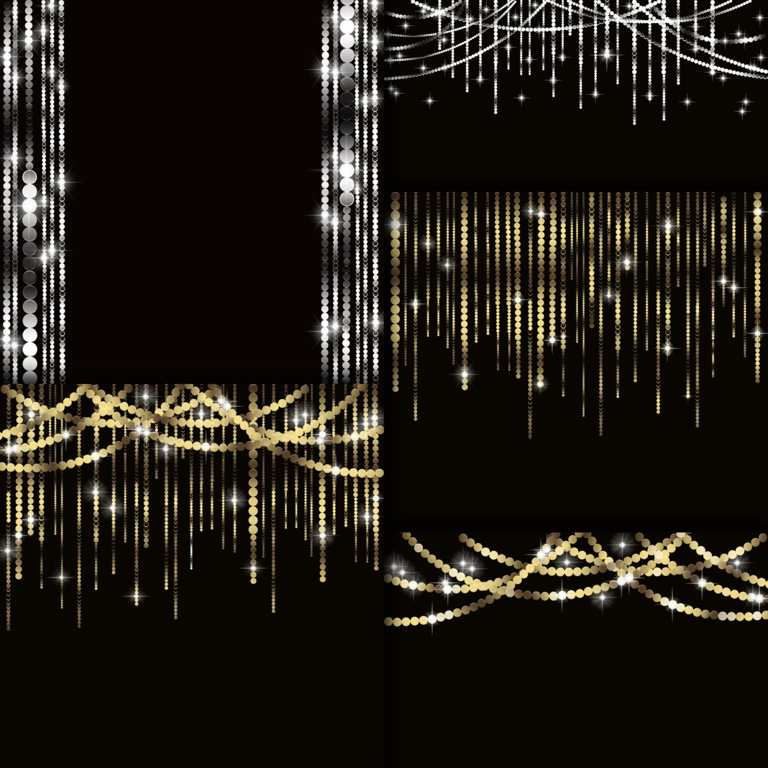 Garland clipart String lights digital clipart Silver Gold sparkling clipart for party, christmas ...