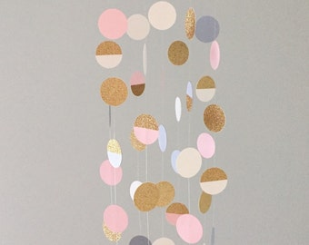 The Ashley Mobile // Pink, Cream, Gray and Gold Shimmering Dots