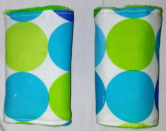 Reversible Infant Car Seat Strap Covers - Aqua and Lime Dots