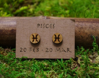 pisces zodiac laser cut bamboo stud earrings