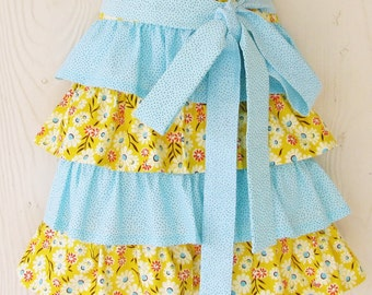 Daisy Half Apron , Blue and Yellow , Daisies , Polka Dots , Ruffles , Flowers , Floral , Cute Apron , KitschNStyle