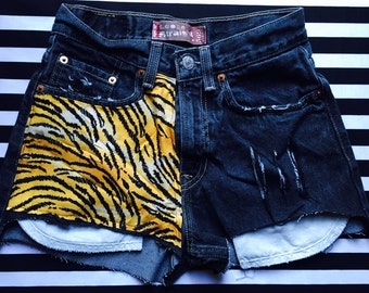 Tiger Print Cut Off Levi Shorts Distressed and Frayed
