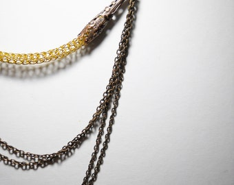 Viking knit necklace- steampunk- gold - bronze- copper