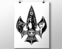 Odin (Odins Spear Gungnir) Print (Large 11.7 x 16.5 inches), Odin Wall Art, Black And White Print, Odin Art, Viking Art