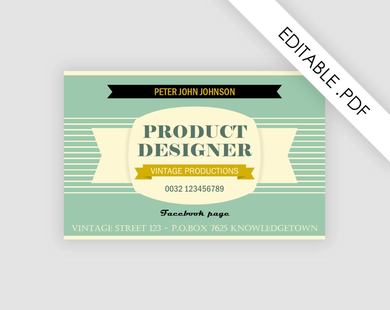 template business card pdf file instant download adobe. Black Bedroom Furniture Sets. Home Design Ideas