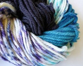 Hand Dyed Yarn, Bulky Yarn, Superwash Merino Wool, Variegated Yarn, Blue Black Purple Yellow