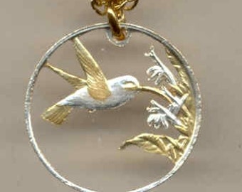 1st Anniversary / Mothers Day gift - Silver & Gold Trinidad and Tobago 1 cent hummingbird Cut Coin Necklace