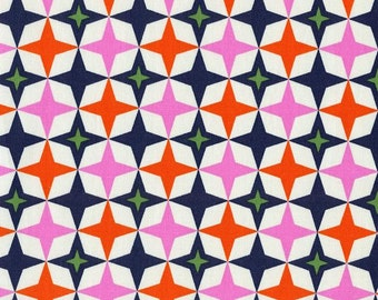 Cotton and Steel, Playful Fabric by Melody Miller, Bowling Alley in Navy Blue and PInk Yardage