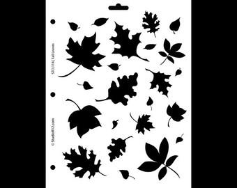 """Harvest Stencil-Fall Leaves- 8 1/2"""" X 11""""-SKU:STCL114"""