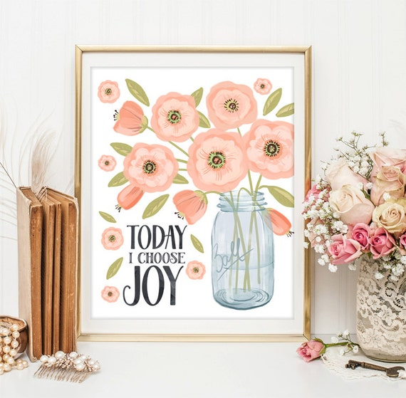 Positive Art Quote Print wall decor inspirational quotes nursery decor Kids Wall Art Today I choose joy print Motivational quote art ID3-10