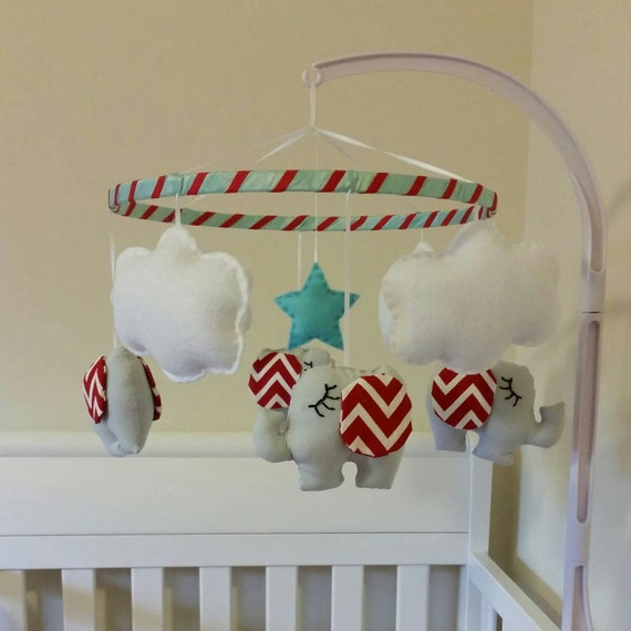 Quinn Aqua Blue And Red Elephant Baby Mobile Crib By Graceannbaby