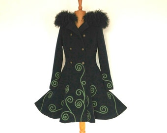 Luxuriously soft cashmere wool coat with fur trimmed hood and embellished detail in a UK size 10.
