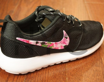 Nike Roshe Run Black White Asian Garden Floral Print Custom