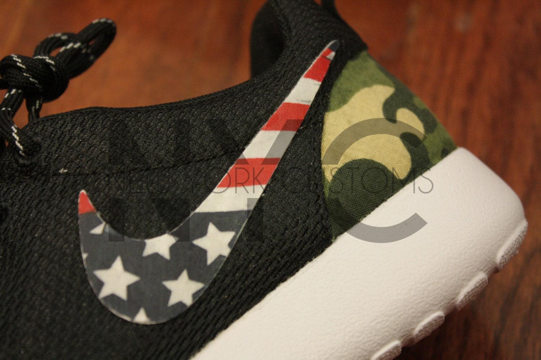 ... nike roshe run black white american flag pride x camo print custom men  womens. ...