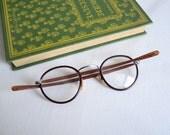 French Vintage Eyewear Glasses, 30/40s, Cateye, Round Rim Frame Glass Lens, Brown Tortoise Frame Eyeglasses