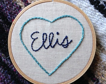 Embroidery Hoop Art - Heart with Name Embroidery in 4-inch Hoop - Love - Family - Best Friend