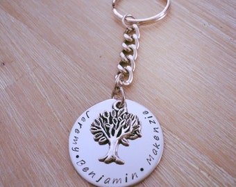 Personalised keyring/keychain. Tree of life. Hand stamped. Gift idea.