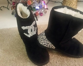 "Blinged out ""ugg"" type boots"