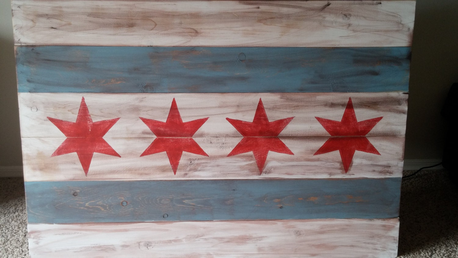 Wooden Chicago Flag Wall Art