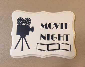 Movie Night Wooden Sign