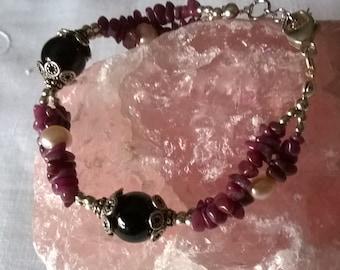 RubyBracelet Gift for her Ruby chips bracelet