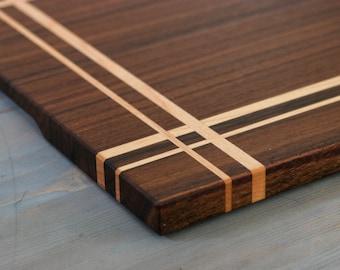 Walnut & Maple Wood Cutting Board, or serving board, in a Striped Pattern