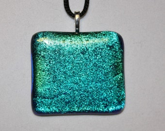ON SALE - Handmade Dichroic Glass Pendant - Glass Necklace - Dichroic Glass - Blue - Green
