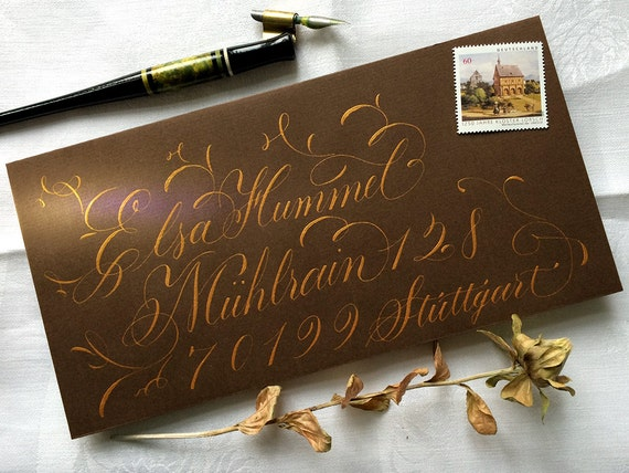 Items similar to envelope calligraphy chocolate brown