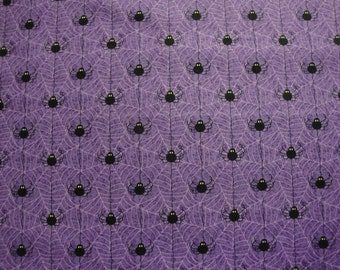 Black Spiders And Webs On Purple B/G By Wilmington Prints-BTY
