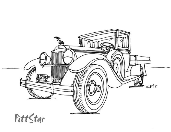 instant download vintage pickup truck printable by pittstar