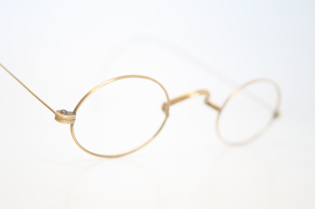Eyeglass Frames Oval : Antique Eyeglass Frames Vintage Gold Glasses Frames Oval