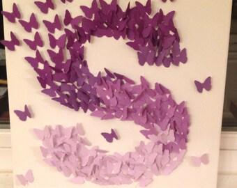 3D Butterfly Wall Art , Purple Ombre, Alphabet Letter S, Nursery Art, Baby Girl