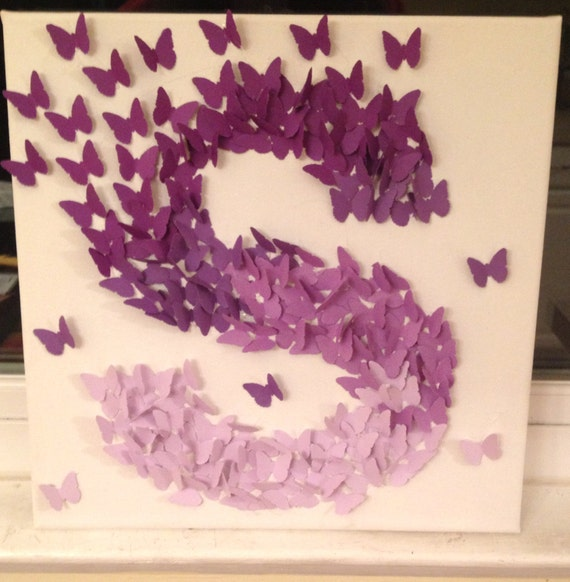 3d butterfly wall art purple ombre alphabet letter s for Alphabet wall decoration
