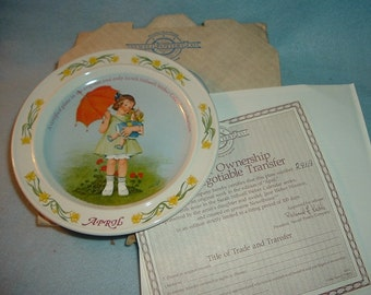 1986 Newell Pottery April by Sarah Stilwell Weber Calendar Collection Plate w Box & COA