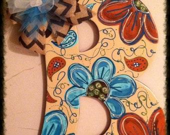 Flower & Paisley Initial Door Hanger