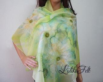 Nuno Felted Silk Scarf Shawl Wrap Apple GREEN and WHITE