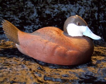 1984 Ruddy Duck Drake Carving by Fred Plaumann