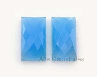 Loose Gemstone Cabochon Blue Chalcedony Rectangle Pair 11x20 mm