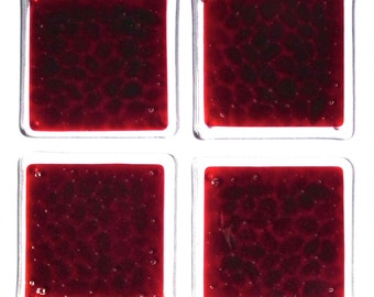 Set of 4 deep red coasters with clear edging