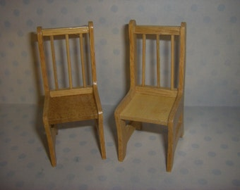 Wooden chair set of 2 in 1:12 scale Dollhouse miniature