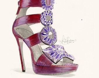 Fashion illustration - Louboutin heel in purple (Giclee print)