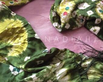 Emerald gem stone shibori silk scarf. Batik silk scarf.
