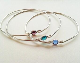 Swarovski Birthstone Bangle, Sterling Silver Bracelet, Birthday Gemstone Bangle, Sterling Silver Bridesmaids Gift, Sparkling Crystal Bangles