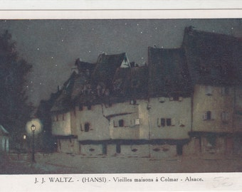 JJ Waltz Hansi French Artist Postcard Magical Old Homes And Night SkyC1910,Colmar Alsace France