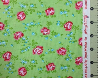 Sugar Hill by Tanya Whelan - Scattered Roses in Green - 1 yard cotton fabric