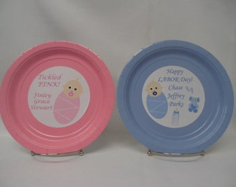 "Baby Shower Personalized/Customized 9"" or 7"" Paper Plates. I Can Do YOUR Baby Shower Colors!"