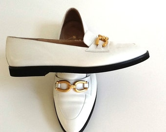 Bruno Magli White Leather Shoes, Ladies 8.5 B, Full Cut Width, Low Heels, White Leather Loafers, Designer Shoes